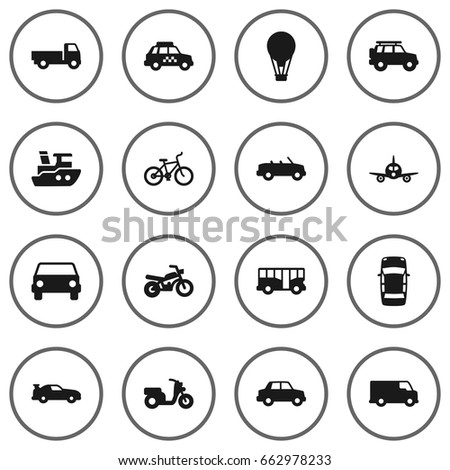 Set Of 16 Transport Icons Set.Collection Of Taxicab, Cabriolet, Scooter And Other Elements.