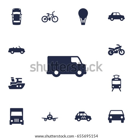 Set Of 13 Transport Icons Set.Collection Of Truck, Car, Taxicab And Other Elements.