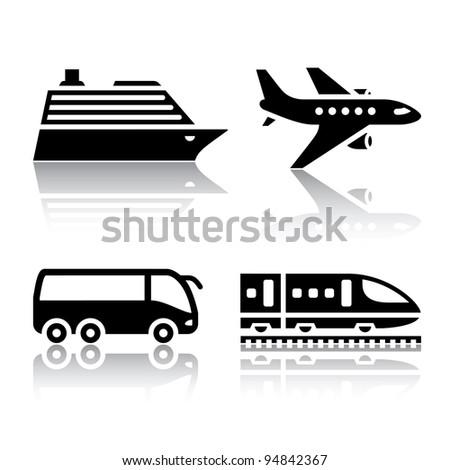 Set of transport icons - tourist transport