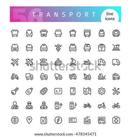Set of 56 transport line icons suitable for gui, web, infographics and apps. Isolated on white background. Clipping paths included.