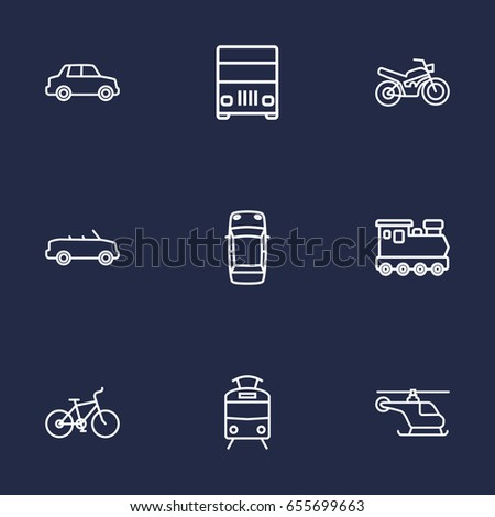 set of 9 transport outline