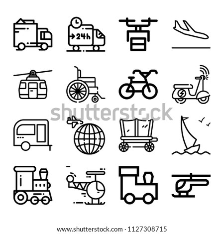 Set of 16 transport outline icons such as earth, train, sailboat, arrivals, cableway, delivery truck, bicycle, trailer, helicopter, carriage, scooter, wheelchair