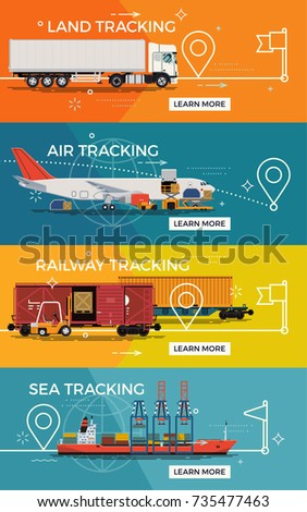 Set of transportation banner templates on conveyed cargo tracking on land, water or air.  Main types of freight transport vector illustrations featuring road, airway, railway and waterway options