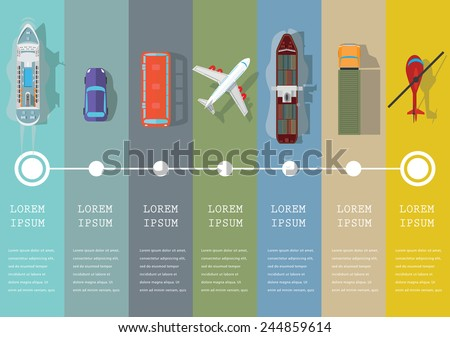 Set of transportation flat icons. Vector illustration.