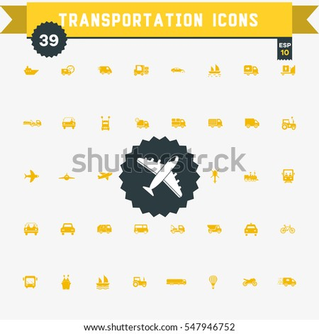 set of 39 transportation  icons