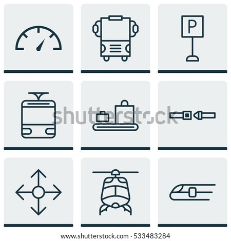 Set Of 9 Transportation Icons. Can Be Used For Web, Mobile, UI And Infographic Design. Includes Elements Such As Streetcar, Safety Belt, Speed Checker And More.