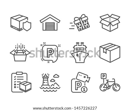 Set of Transportation icons, such as Ship, Lighthouse, Parking garage, Bicycle parking, Open box, Present delivery, Packing boxes, Delivery insurance, Parcel checklist, Parcel line icons. Vector