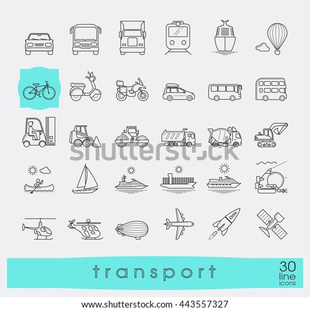 Set of transportation icons. Various means of transportation road, rail, air, water transport. Various types of  vehicles. Collection of line vector icons.