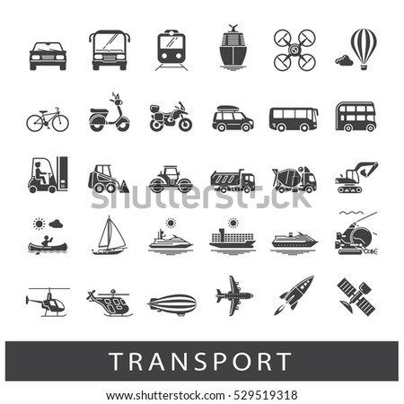 Set of transportation icons. Various means of transportation road, rail, air, water transport. Various types of  vehicles. Collection of vector icons.