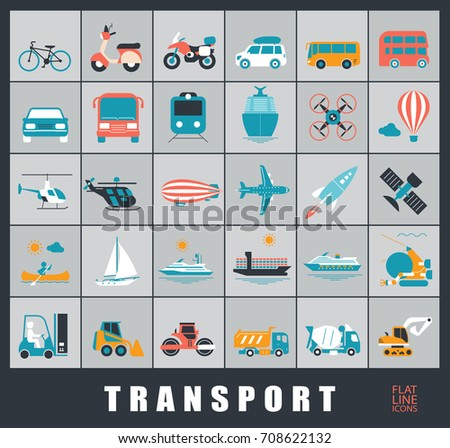 Set of transportation icons. Various means of transportation road, rail, air, water transport. Various types of  vehicles.