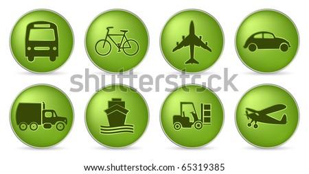 set of transportation in green color