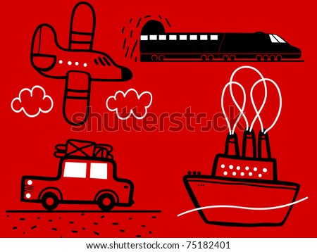 Set of transports, plane, ship, car, train
