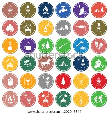 Set of travel and camping equipment icons. Vector illustration