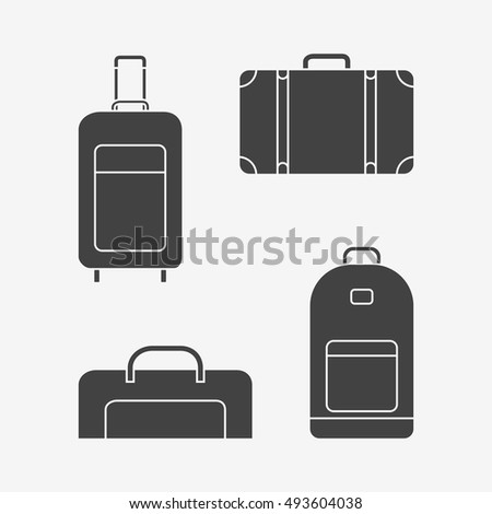 Set of travel bags monochrome icons. Suitcase, luggage case, backpack. Vector illustration.