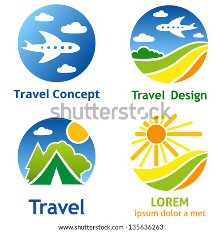 Set of travel business concept. Symbols and emblems for travel agency, airlines, tourism, adventure and expedition.
