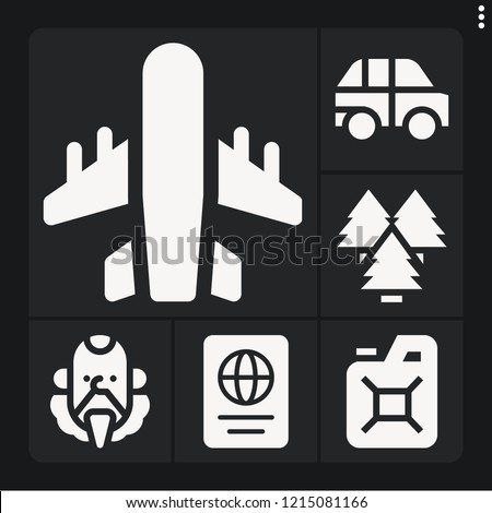 set of 6 travel filled icons