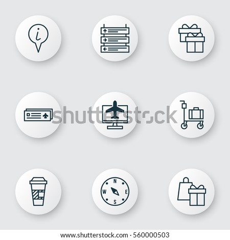 set of 9 travel icons includes