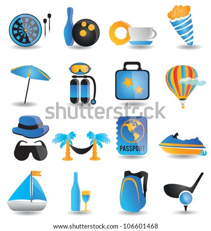 set of travel icons - part 1 - vector illustration