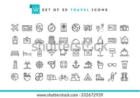 set of 50 travel icons  thin