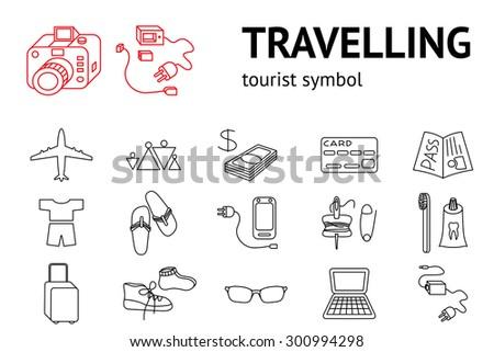 set of travel icons tourism