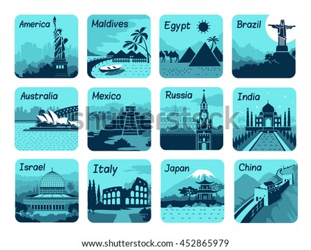 set of travel icons with