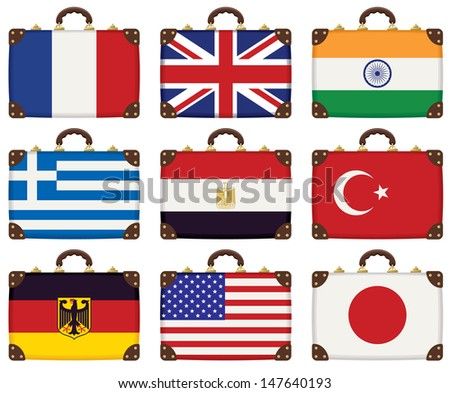 set of travel luggage with flags of different countries