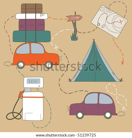 Set of travel objects - stock vector