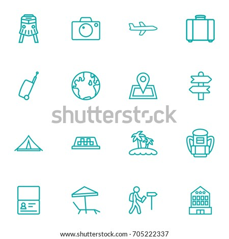 set of 16 travel outline icons
