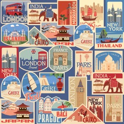 Set of travel retro labels and cards. Different countries and cities. Vector color graphics