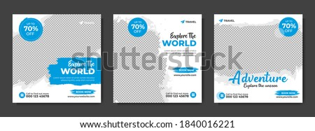 Set of travel sale social media post template. Web banner, flyer or poster for travelling agency business offer promotion. Holiday and tour advertising banner design.