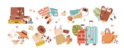 Set of travel stuff vector illustration. Collection of items for vacation or journey decorated by tropical leaves, shells and flowers isolated. Clothes, accessories, shoes and suitcase for tourism