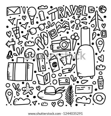 f238956a7b Set of travel symbols in doodle style. Hand drawn vector trip elements  isolated on white