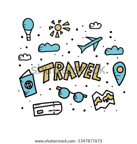 Set of travel symbols in doodle style. Hand drawn vector trip elements isolated on white background. Color illustration. #1347877673