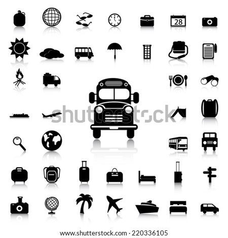 Set of Travel & Tourism  black icons and silhouettes