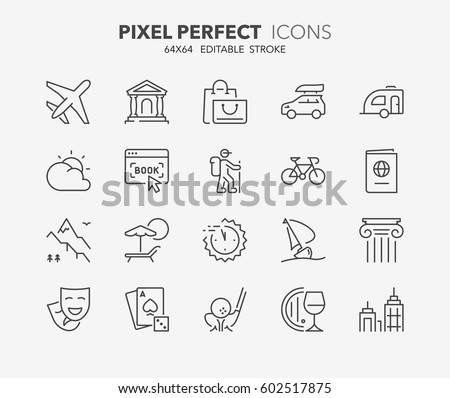 Set of travel, tourism transportation thin line icons. Contains icons as airplane, booking, last minute deals, ecotourism, cultural tourism and more. Editable vector stroke. 64x64 Pixel Perfect.
