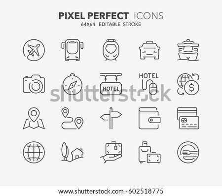 Set of travel, tourism transportation thin line icons. Contains icons as travel by airplane, booking online, payment methods, travel insurance and more. Editable vector stroke. 64x64 Pixel Perfect.