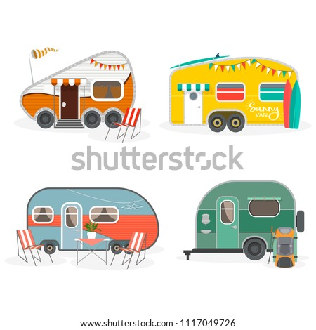 Set of Travel Trailer Caravans with different landscapes. Isolated objects on white background