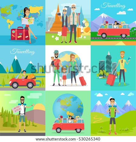Set of traveling vector concepts. Flat design. Auto stop, hiking, car travel with friends, family journey, traveling in old age, trip around the world illustrations. Tourists in different countries