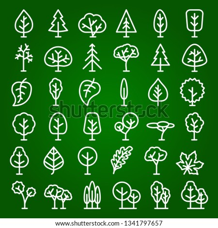 set of tree and leaf icons line style for natural product store, garden, nature cosmetics, ecology company, naturally firm, organic shop, alternative medicine, green unity, farming. Vector 10 eps #1341797657