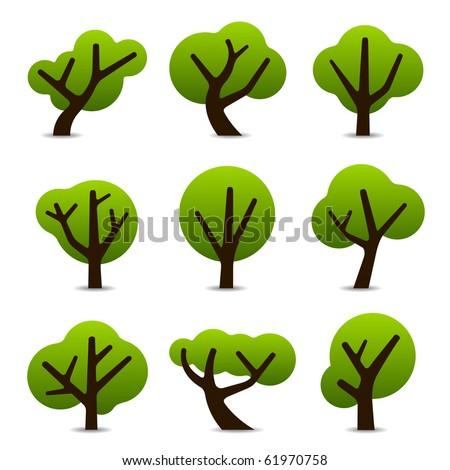 Set of 9 tree icons