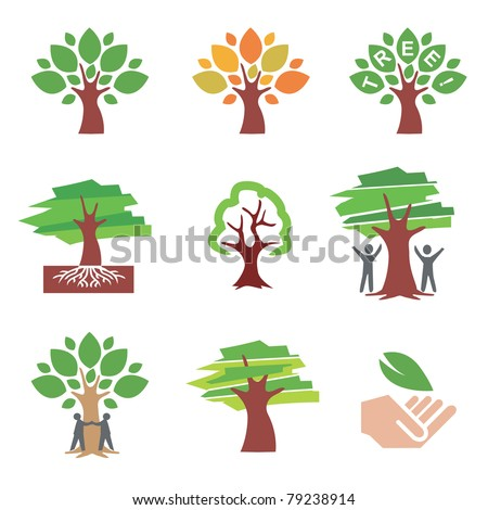 Set of  tree icons and illustrations. Vector illustration.