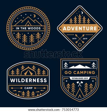 Set of 4 tree line art camp badges