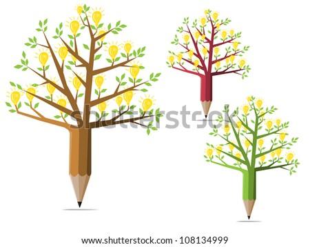 Set of tree pencils with light bulb idea concept.