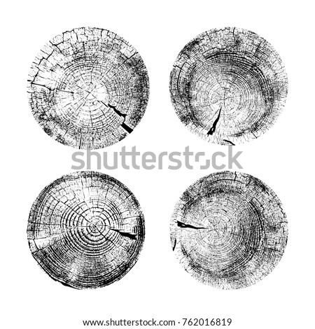 Set of tree rings background. For your design conceptual graphics. Vector illustration EPS 10. Isolated on white background