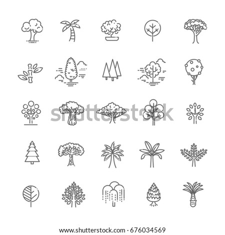 set of tree shape vector line
