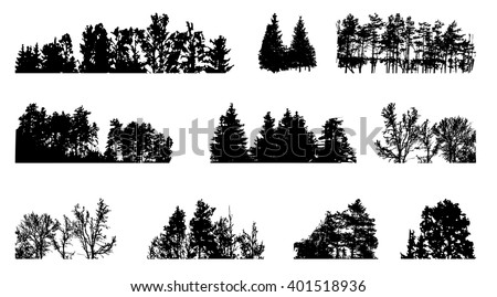 Set of Tree Silhouette Isolated on White Backgorund. Vecrtor Illustration. EPS10