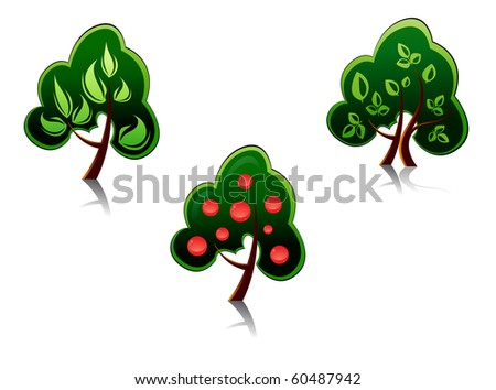 Set of tree symbols as a signs or emblems - also as emblem or logo template. Jpeg version also available