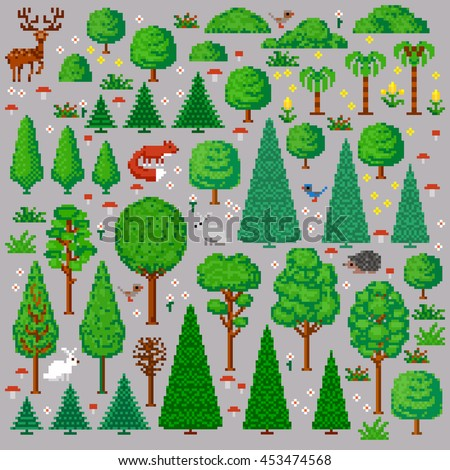 set of trees and animals