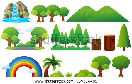 set of trees and mountains...