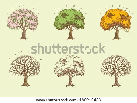 set of trees at engraving style